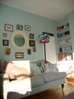 Our Eclectic Boho Art Deco Living Room, Liberty Cushions, Etomology, Butterfly Taxidermy.