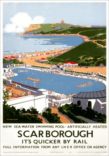 Scarborough, Swimming Pool, Yorkshire. LNER Vintage Travel Poste