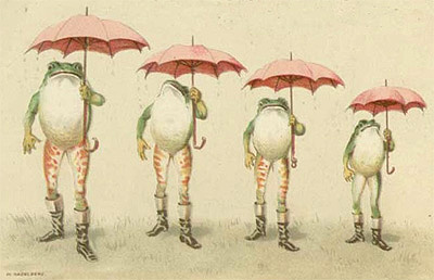 Frogs Umbrellas Vintage Childrens Illustration Birmingham Library archive