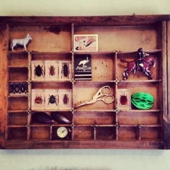 Printers Tray Vintage Objects - Toy Soldier Stork Embroidery Scissors Entomology Stork Club Martches Pocket watch