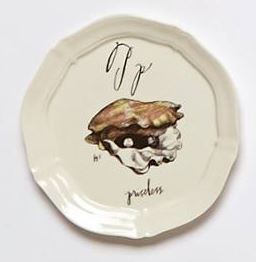 Anthropologie Oyster Pearls Canopy plate