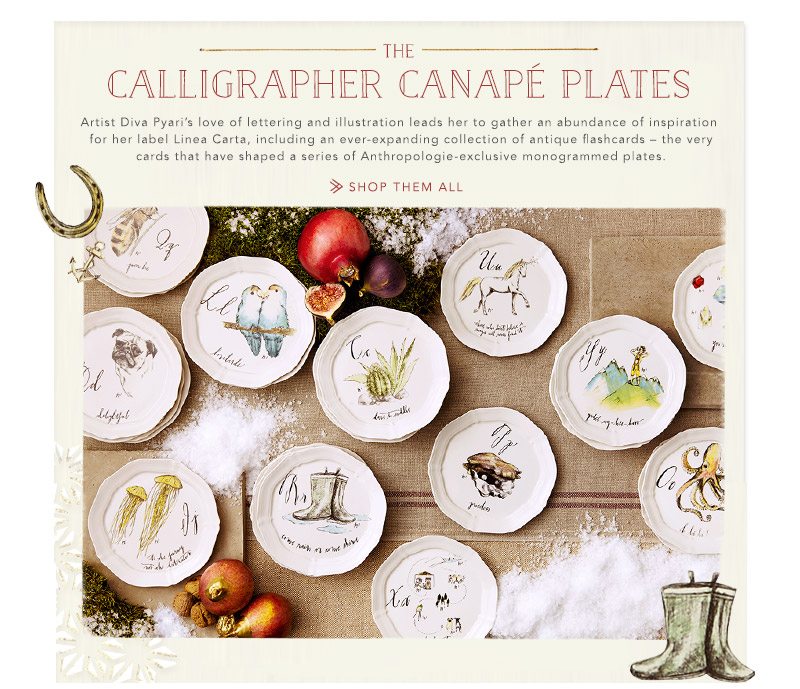 Calligraphy canape plates godard girl the taxonomies for Calligrapher canape plate anthropologie