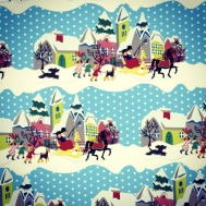 Retro V&A wrapping paper winter scene