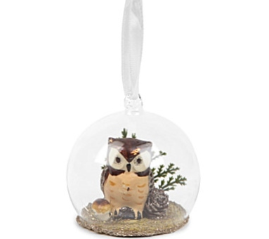 Selfridges Forest Owl Glass Bauble